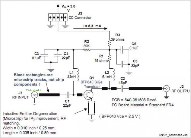 Low Noise Amplifier For Gps Applications Using Bfp640 Sige Transistor - schematic
