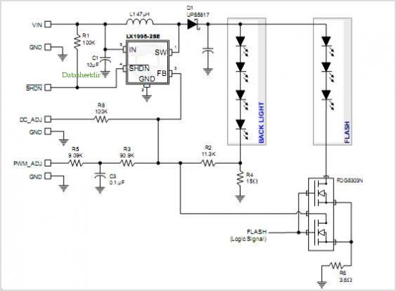 Lx1995 Led Driver: Camera Flash Application - schematic