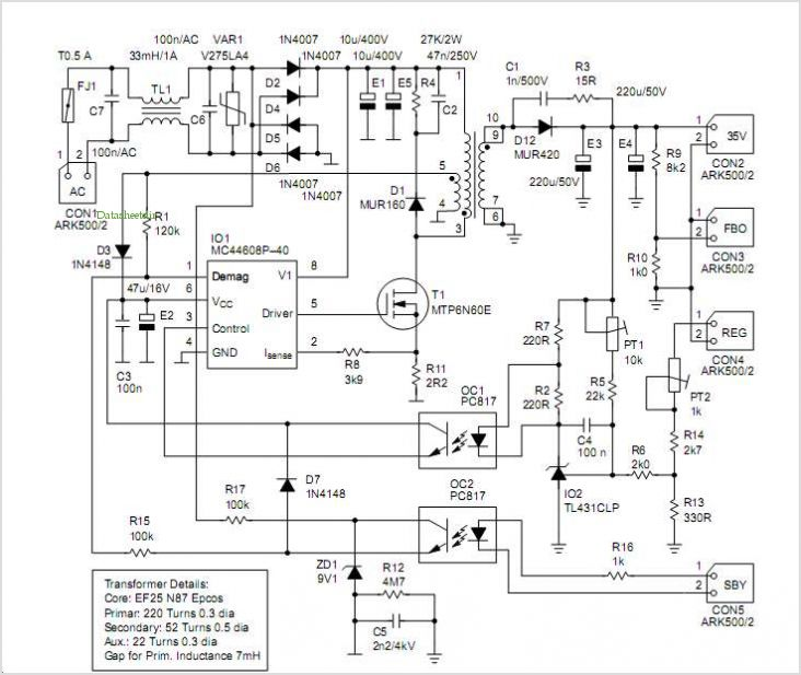 Mc44608 Smps Featuring Very Low Standby Power Consumption And Wide Range Output Voltage - schematic.