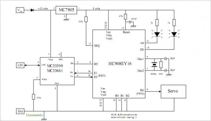 Mc68hc908ey16 Controlled Robot Using The Lin Bus - schematic