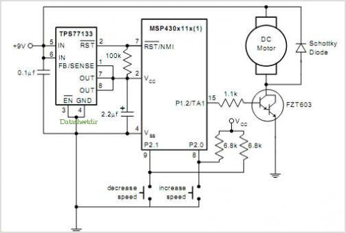 Pwm Dc Motor Control Using Timer A Of The Msp430 - schematic