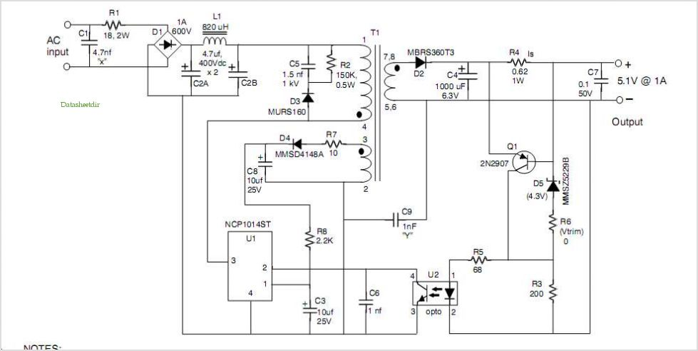 A Simple Secondary Side Vcc Source For Low Power Constant Voltage Constant Current (cvcc) Power Supplies - schematic