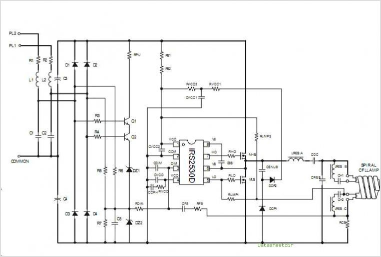 Simplified Three Level Dimming Cfl Fluorescent Ballast Using The Irs2530d - schematic