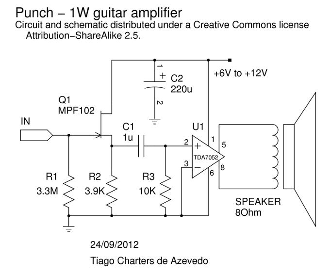 1W guitar amplifier - schematic