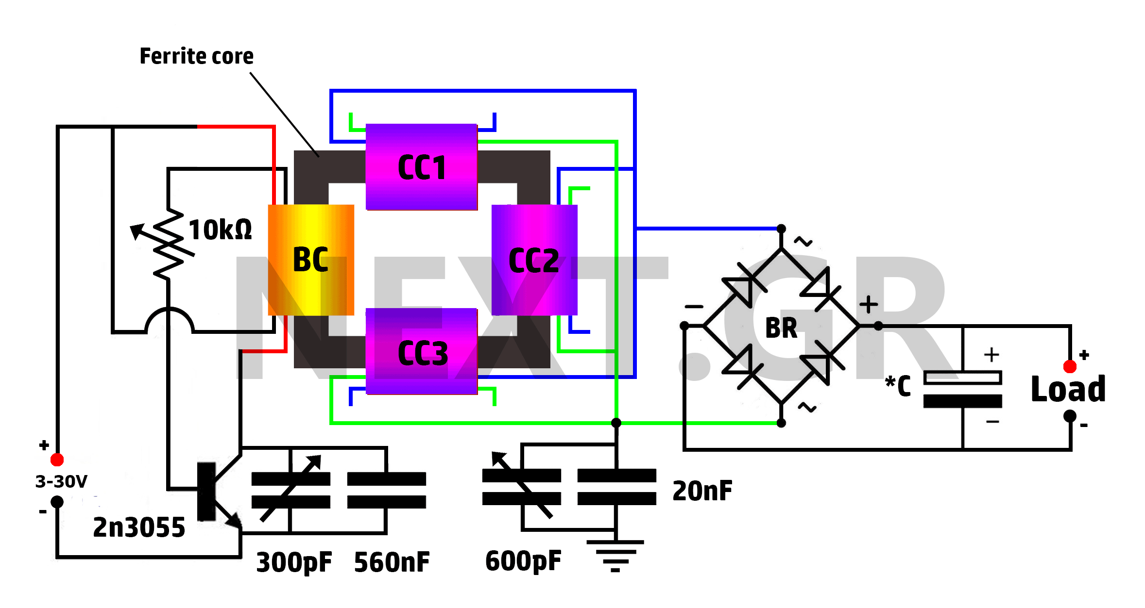 Secret High Power Free Energy Circuit (AEC) - schematic