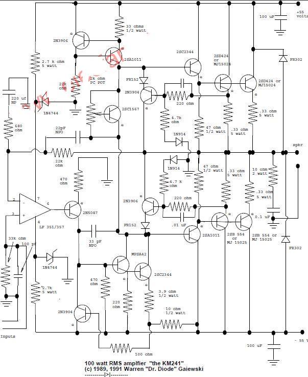 100w amplifier circuit