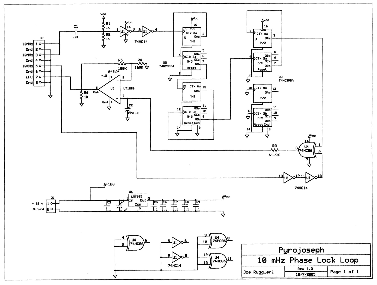 GPS-Disciplined 10 MHz Frequency Standard / GPS-Based Universal Time Clock - schematic