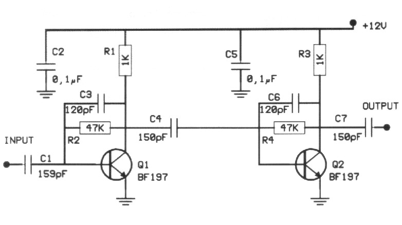 20dB VHF Amplifiers - schematic