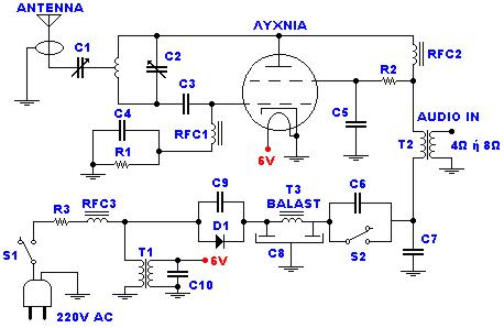 Transmitter FM 45W with valves - schematic