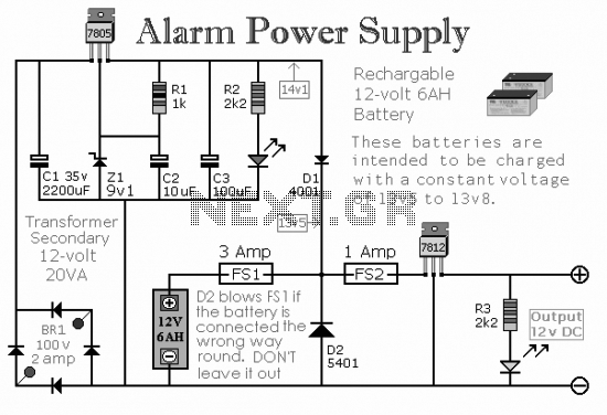 Alarm power supply circuit