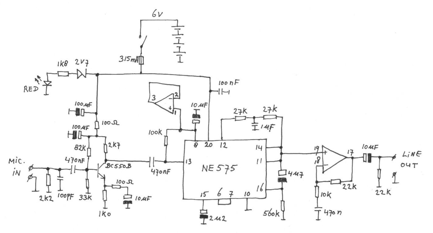 Microphone preamplifier with audio compressor - schematic