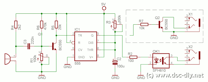Simple sound trigger for cameras and flashes - schematic