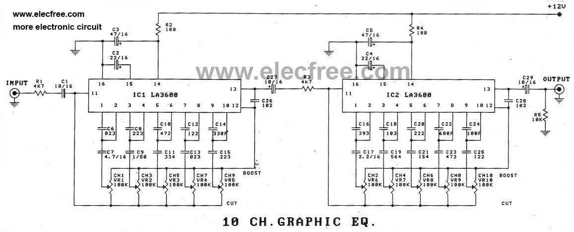10 Channel Graphic Equalizer by LA3600 - schematic