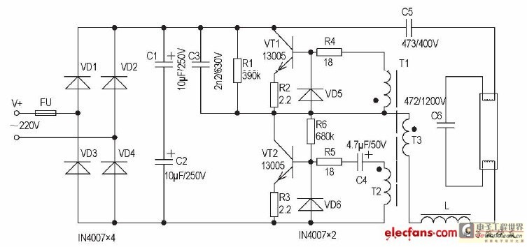 Gt circuits w electronic ballast principle and