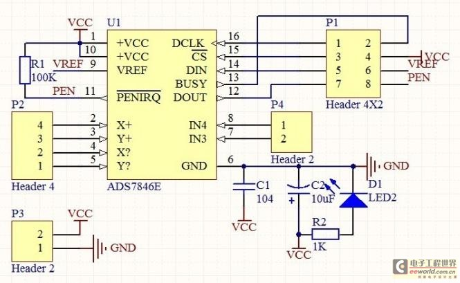 Controlling circuit of the touch control screen make short biography - schematic