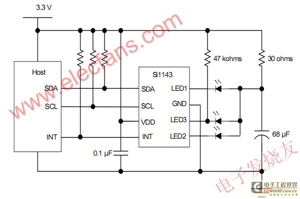 Infrared proximity sensor serial Si1143 of Silicon Labs Company - schematic