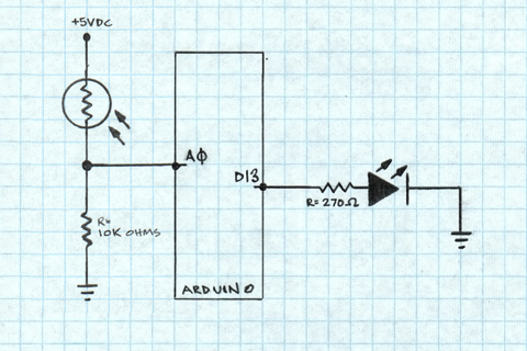 Arduino Light Sensors - schematic