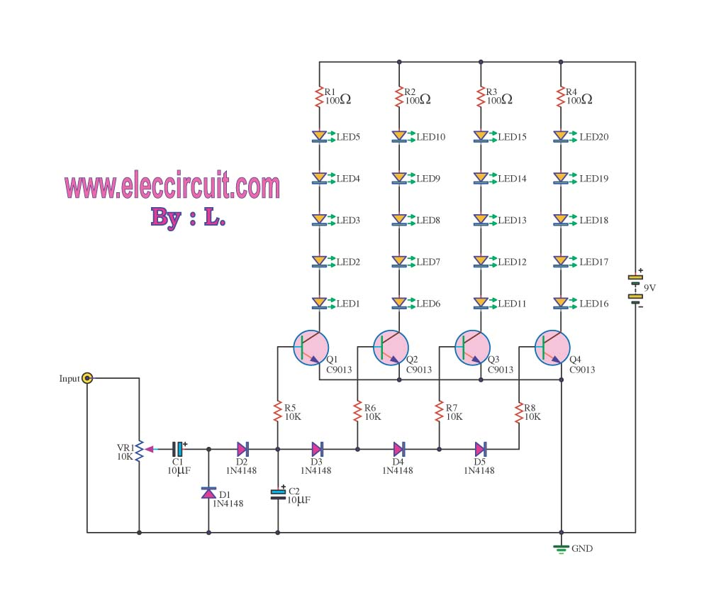 Vu Meter Circuit Page 3 Counter Circuits Nextgr Led By Transistor