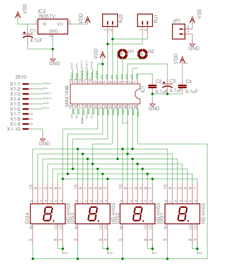 Simple Voltmeter schematic using Maxims ADC with LED driver - schematic