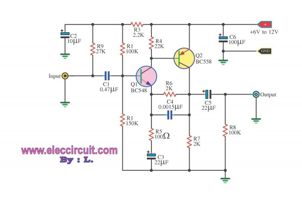 simple preamplifier circuits by transistors - schematic