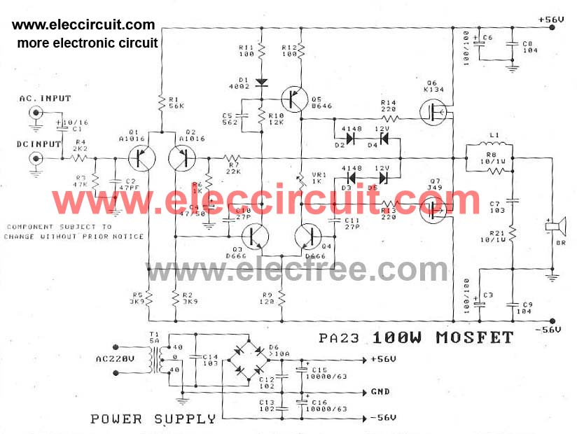 100 watt DC servo amplifier by Power MOSFET - schematic