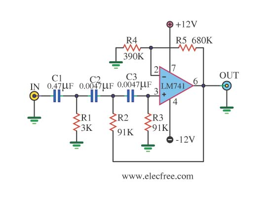 Circuits simple high pass filter using ic 741 l40890 for Home 741 741