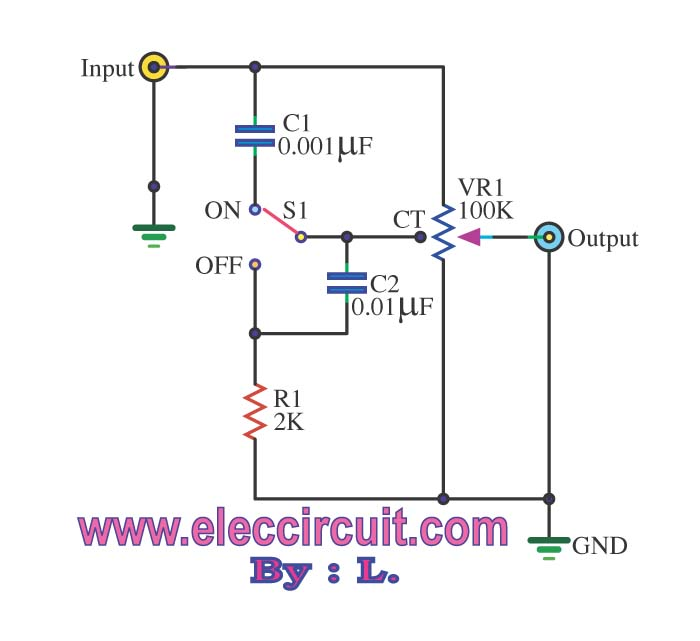 Passive tone control circuit - schematic