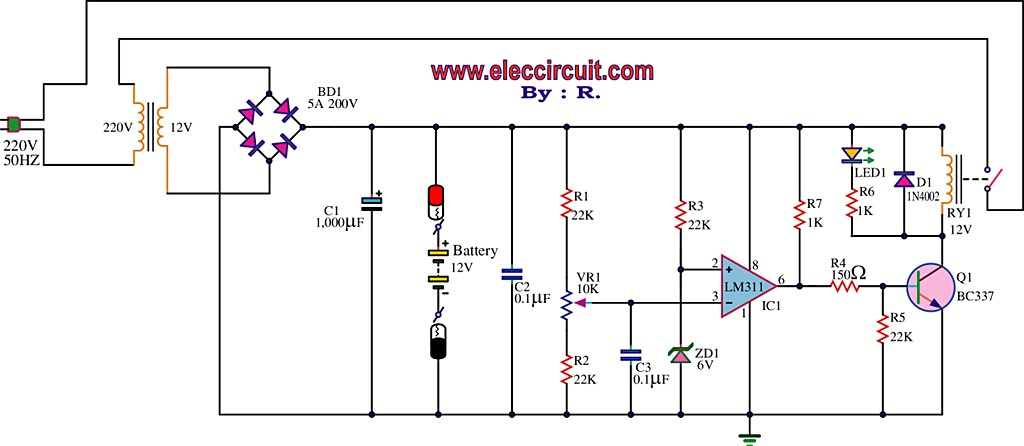 Best 12V battery charger circuit using LM311 - schematic