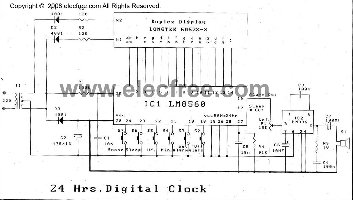 Alarm Circuit Page 9 Security Circuits Fire Using Thermistor 038 Ne555 Cheap Digital Time Clock With By Lm8560