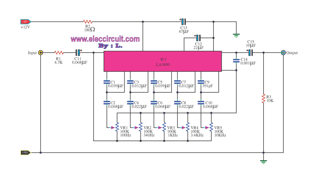 5 Channels Graphic Equalizer by LA3600 - schematic