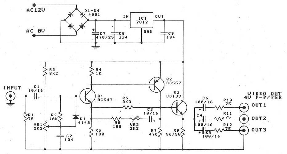 Video Amplifier Splitter By Transistor Bd137 Bc547 Bc557