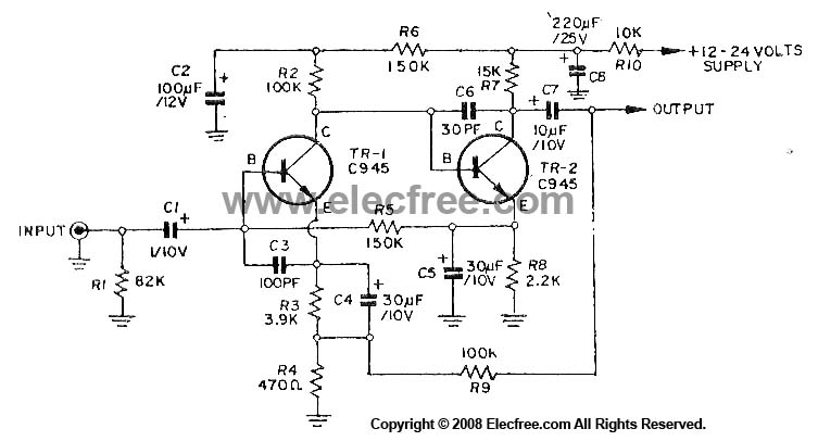 Dynamic Microphone Preamplifier using C945 transistor - schematic