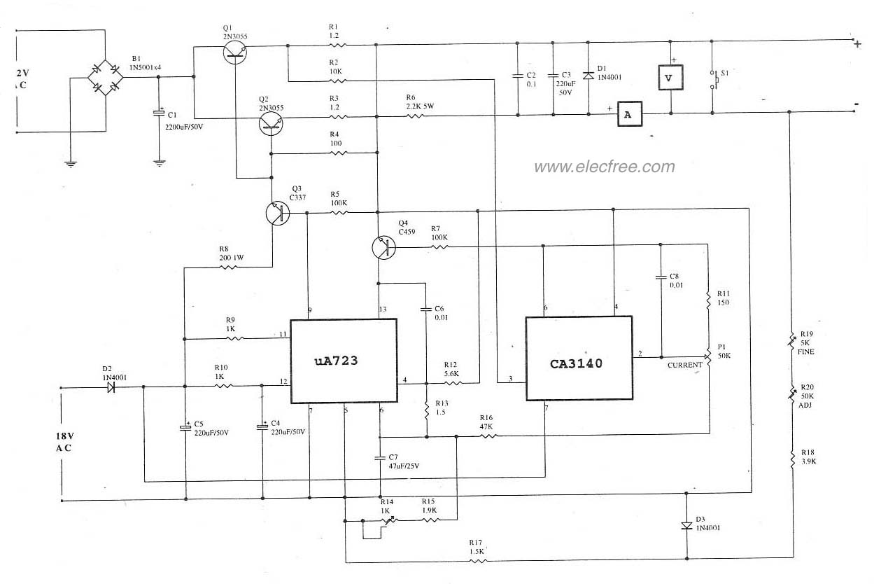 Top Circuits Page 81 5v 3a Switchingregulatorcircuit Powersupplycircuit Circuit Lm723ca31402n3055 Variable Regulator 0 30v 5a