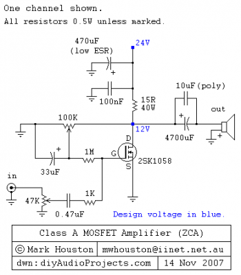 Class-A MOSFET Amplifier by 2SK1058 - schematic