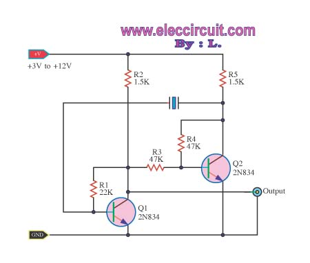 Oscillator astable multi-vibrator with Crystal controller - schematic