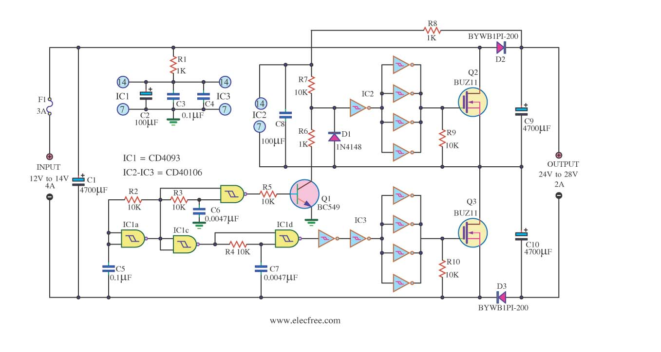 Mosfet Circuit Page 6 Other Circuits Power Supply Moreover Dc Furthermore Converter Dc12v To 24v 2a By Ic 40106 And Buz11 This Is