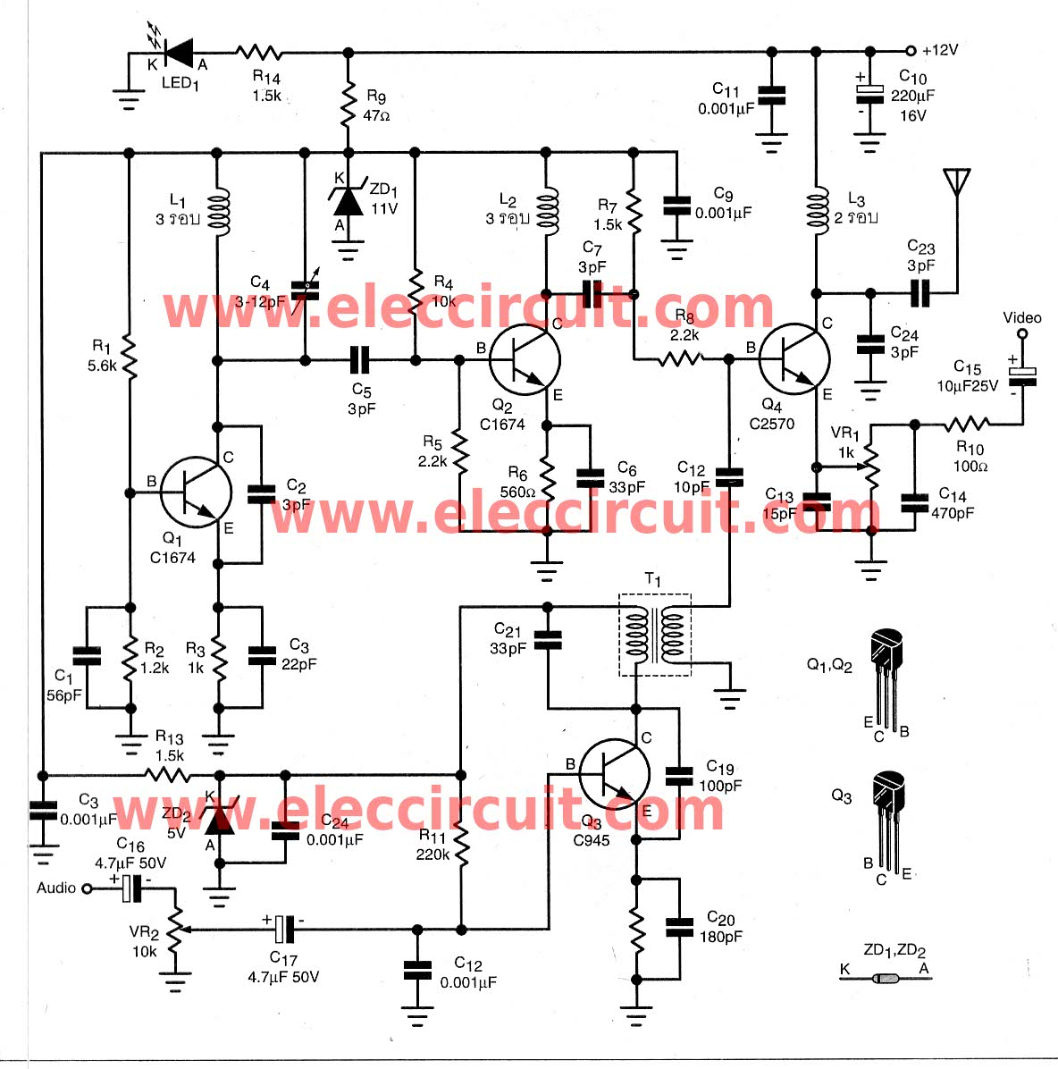 DIY The wireless video & audio signal sender circuit - schematic