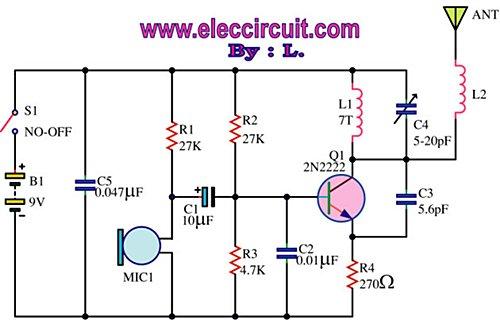 FM wireless transmitter circuit - schematic