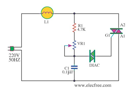 AC lights dimmer with triac - schematic