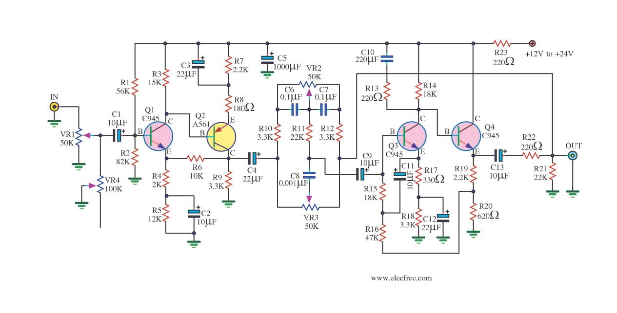 Low noise tone control circuit using C945 - schematic