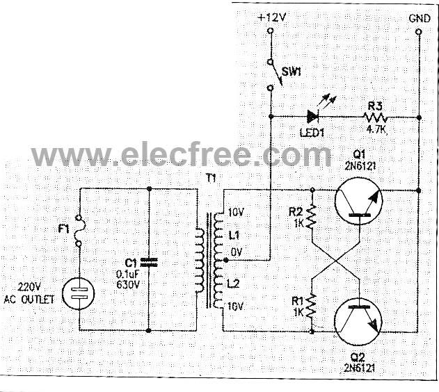 Micro Inverter by 2N6121 - schematic