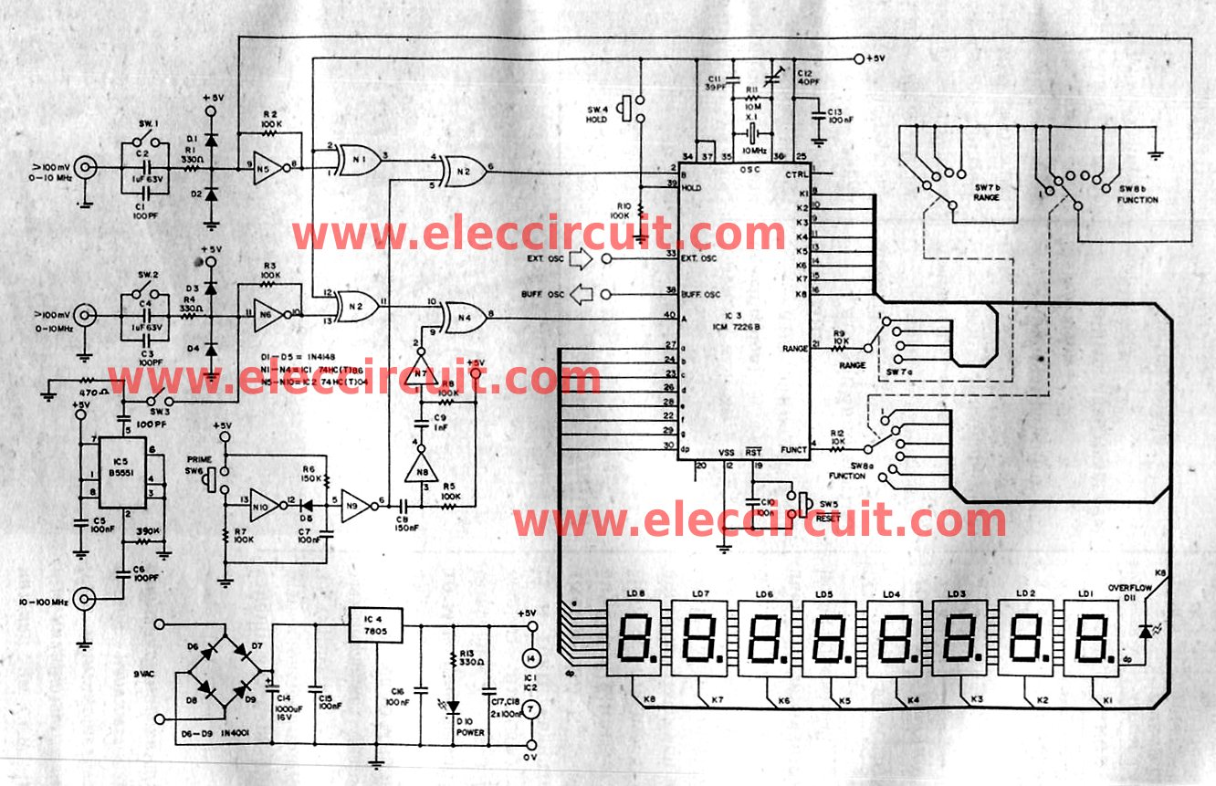 Multi function frequency meter 0-100MHz using ICM7226B - schematic