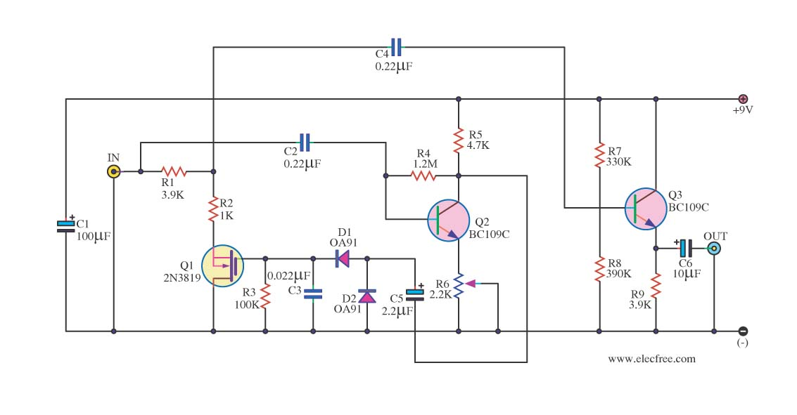 Audio noise filter circuits - schematic