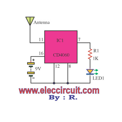 Non contact ac detector voltage tester using CD4060 - schematic