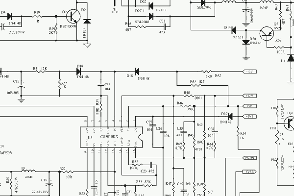 PC SMPS PWM chip CG8010DX16 - schematic