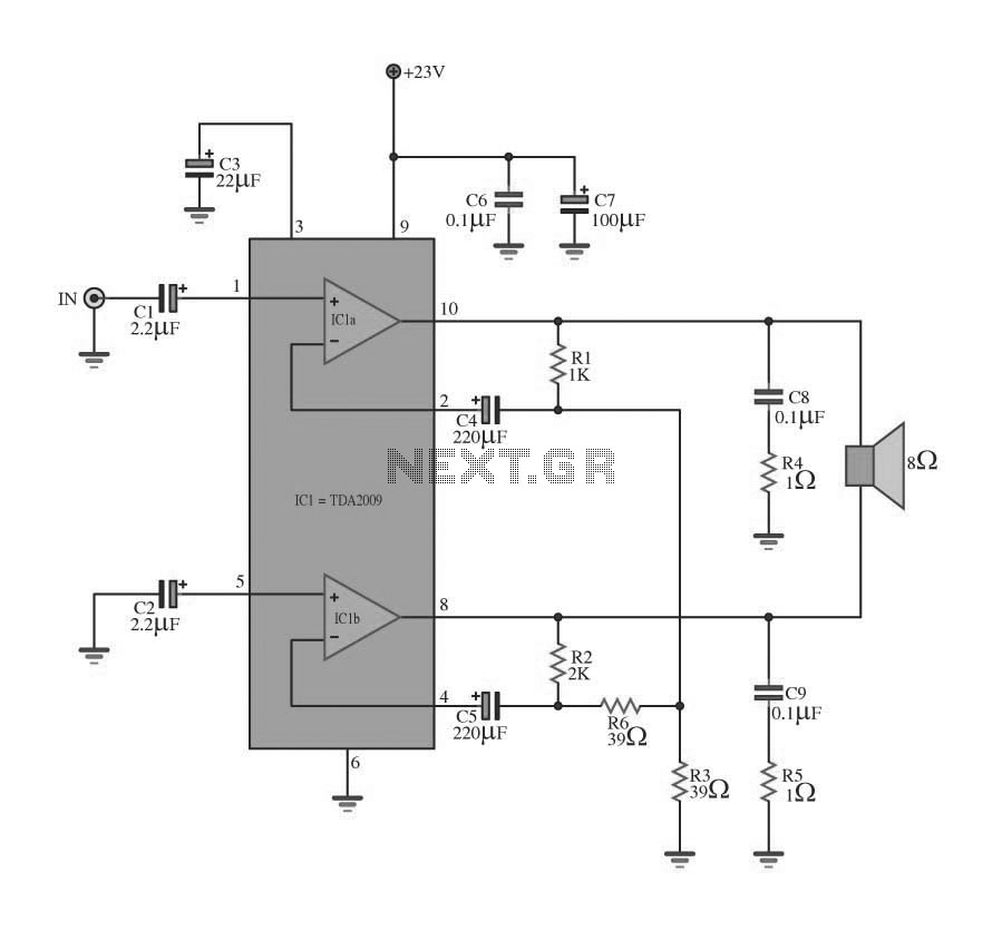 22w Stereo AmplifierCircuit Circuit 22w Stereo Amplifier - schematic