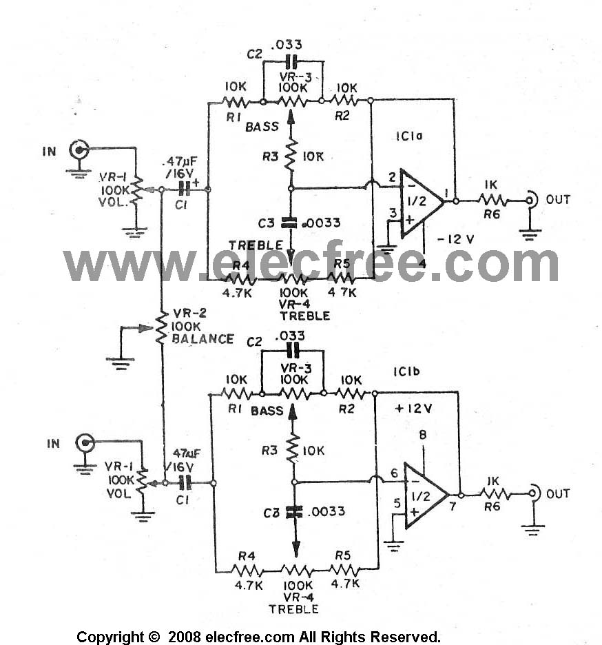 Three circuits of preamp tone controls by NE5532 - schematic