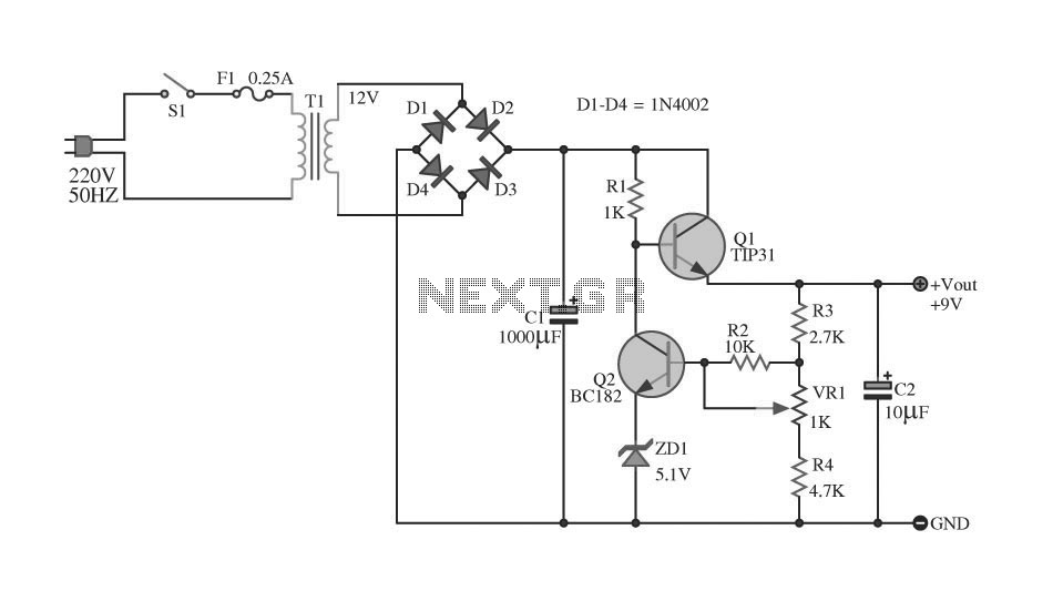 regulated power supply using transistor tip31 under repository-circuits