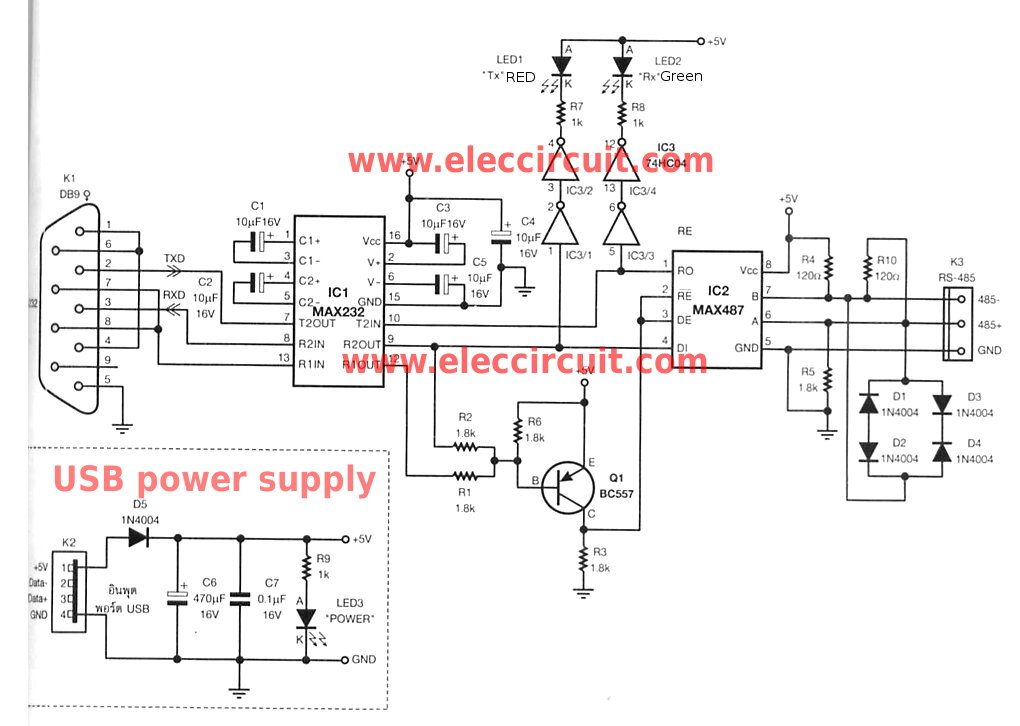 RS-232 to RS-485 converter circuit usin MAX487 - schematic