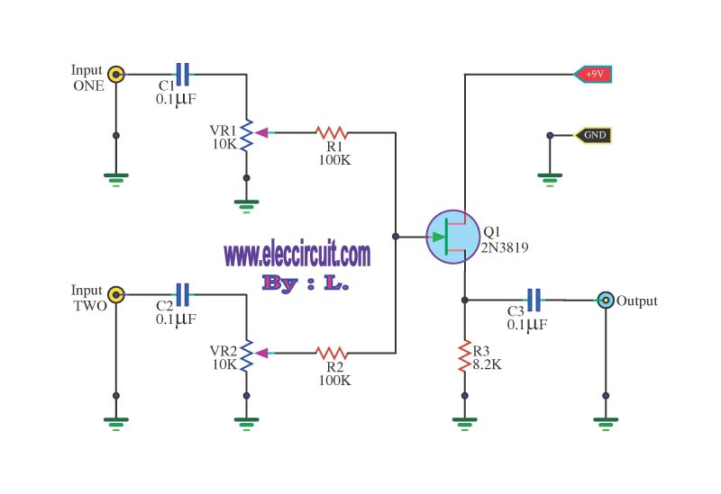 Simple audio mixer circuit with fet 2N3819 - schematic